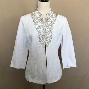 Chico's White Cotton Jacket with Gold Beads